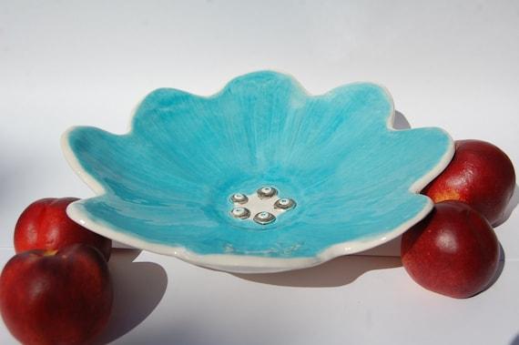 Large Fruit Bowl Flower Shaped Pottery Fruit Bowl Blue Bowl Pottery made in UK