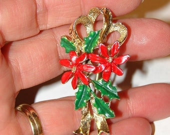 Vintage Enameled Christmas poinesttia holly, Brooch, Pin by Jerry's Gerry's, holiday gift, womans accessories, gifts for her, jewelry gifts