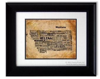 Montana state typography print Rustic style wall art decor Father's Day gift for him