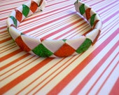 """Red, green and white Christmas woven glitter headband for American Girl and other 18"""" dolls"""