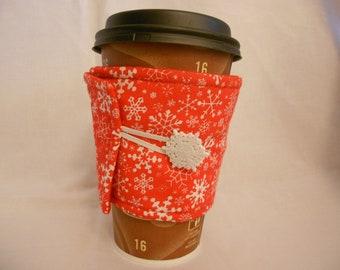 Red Snowflake Coffee Cozy
