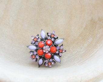 Red Flower, Snowflake Ring - Brass and Rhinestones