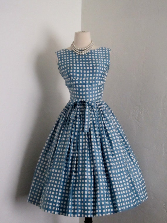 vintage 1950's Henri Bendel gorgeous novelty polished cotton full skirt pin up dress
