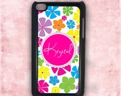 Monogram iPod Touch case - Flower monogrammed iTouch 5g case, personalized Ipod 4 Touch cover, custom iPod 5 iPod 4th gen (9669)