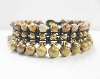 Jasper Bead Brass Gold Bell Bracelet