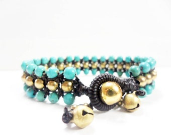 Triple Turquoise  Brass  Bracelet