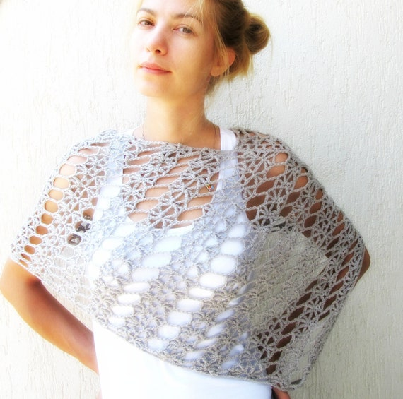 Items Similar To Grey Lace Crochet Wrap Grey Lace