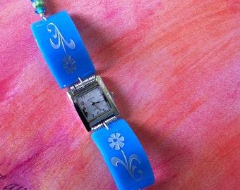 Sandcarved   Blue Floral Design Glass Watch