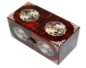 Lacquer ware inlaid new mother of pearl handcrafted jewelry case,jewel box trinket box Crane Design