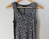 1990s Grunge Floral Grey Maxi Dress