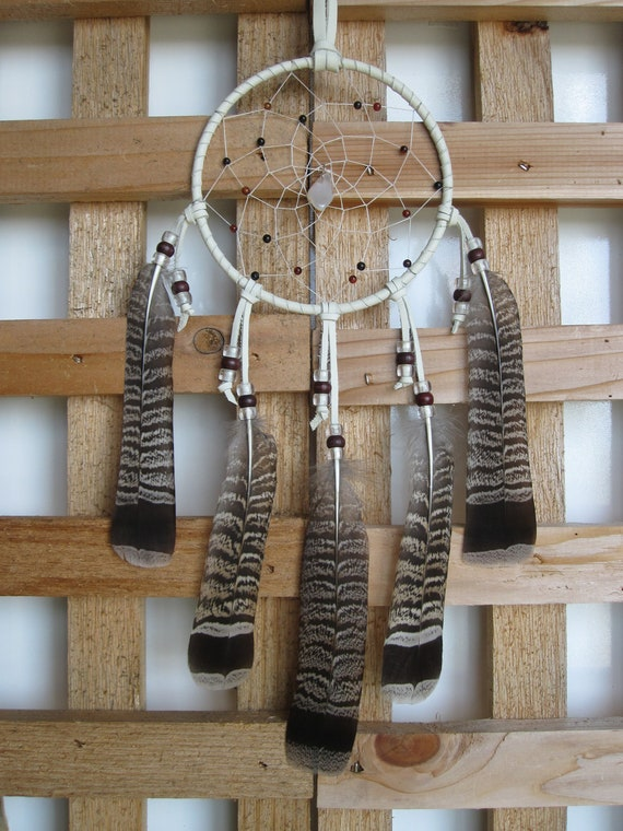 White Leather Dream Catcher with Grouse Tail Feathers