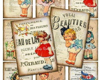 Digital Collage Sheet, Vintage Girls Printable Download, Altered Art Ephemera ATC ACEO size JPEG file