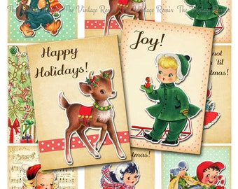 INSTANT DOWNLOAD, Digital Collage Sheet, Christmas Tags, Printable Labels, Gift Tags, Retro Vintage Girls and Boys, atc aceo