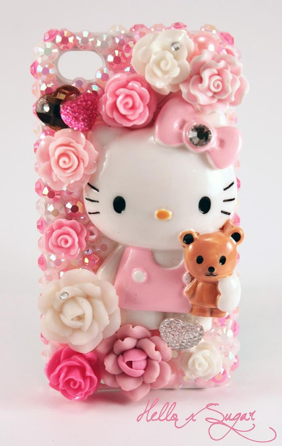 SALE-Hello Kitty Flower Bouquet Decoden Iphone 4/4S Case - READY-to-SHIP
