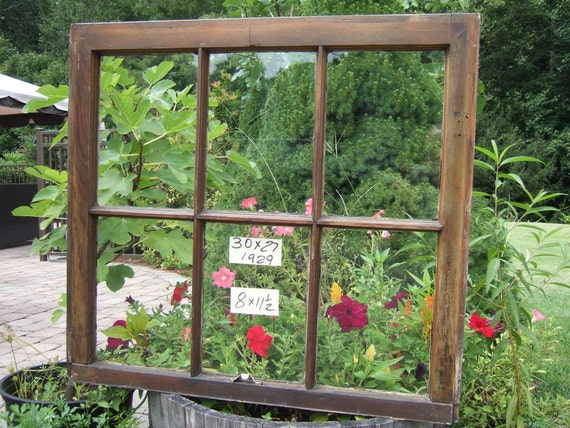 Vintage Window sash old 6 pane 30 x 27 from 1929