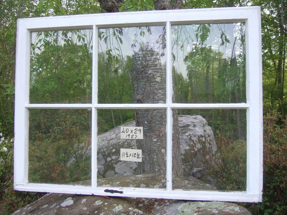 Antique LARGE Vintage window sash old 6 pane 40 x 29 from 1927 original GLASS