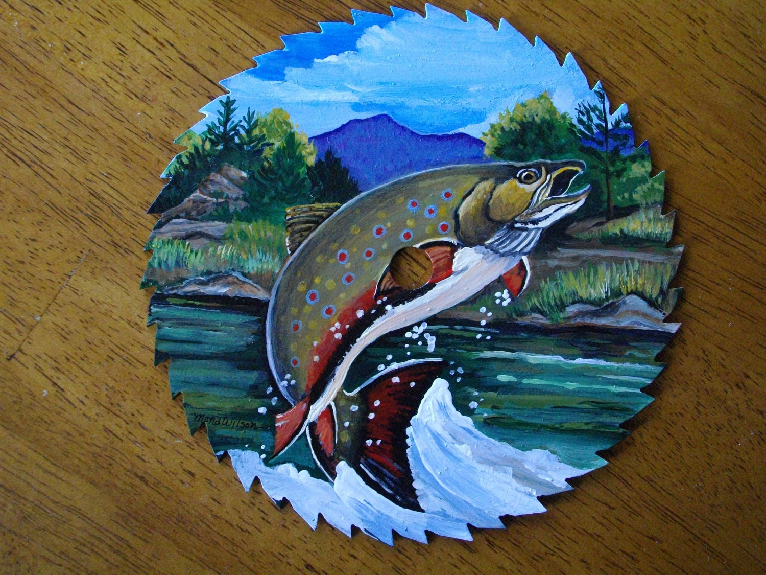 Hand Painted Saw Blade Leaping Brook Trout