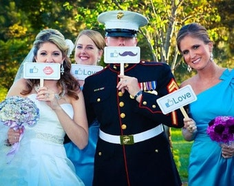 Set of 6 - Double Sided Wedding Engagement MINI Photo Booth Prop Signs- aka.perty.ful.tings