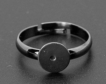 Black Ring Blanks Gunmetal Rings Adjustable Ring Blanks Blank Rings 100 pieces Wholesale Ring Blanks