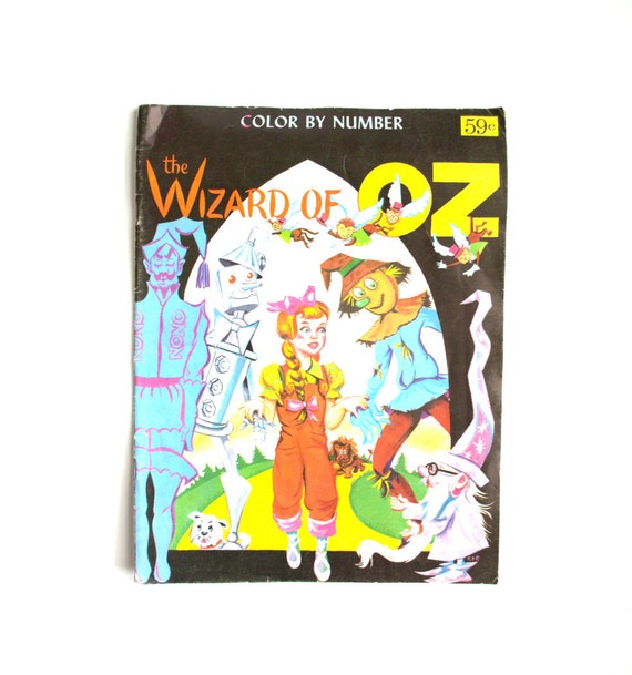 Vintage The Wizard of Oz Color by Number Children's Books