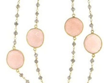 Pink Quartz Bead Necklace