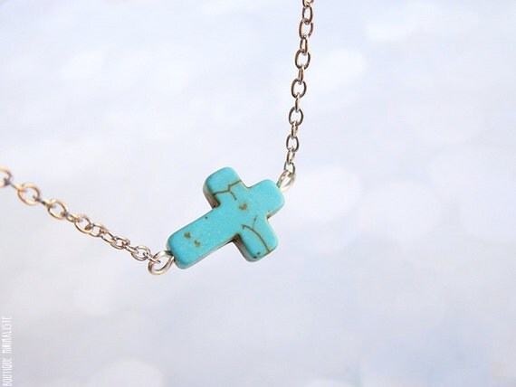 Sideways Cross Necklace - Dainty Turquoise and Silver chain