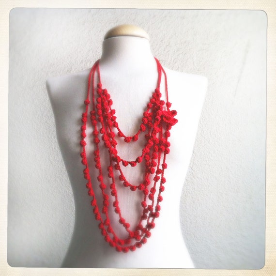Red Crochet Statement necklace with 2 red hearts