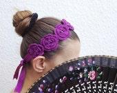 Purple crochet flowered headband with satin ribbon and bead ,wriststrap,collar,Bracelet