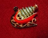 Vintage Christmas Pin Santas Sleigh with tree