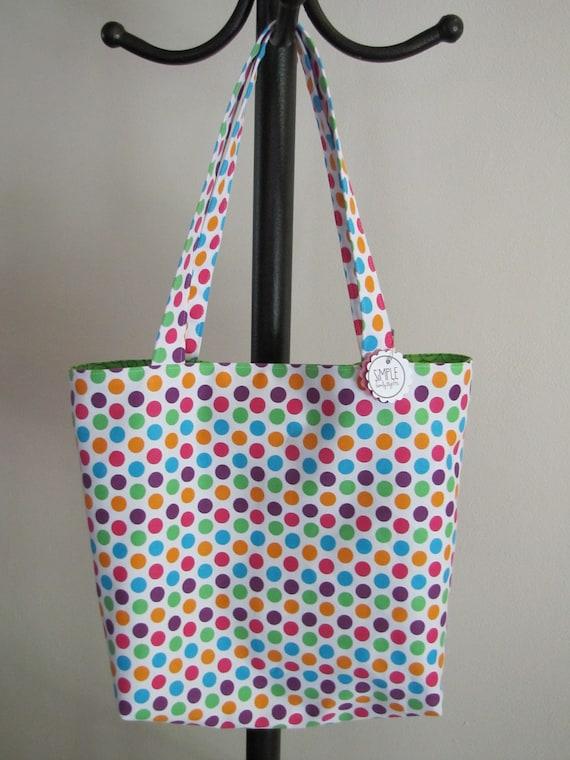 Bright Polka Dot Library Bag