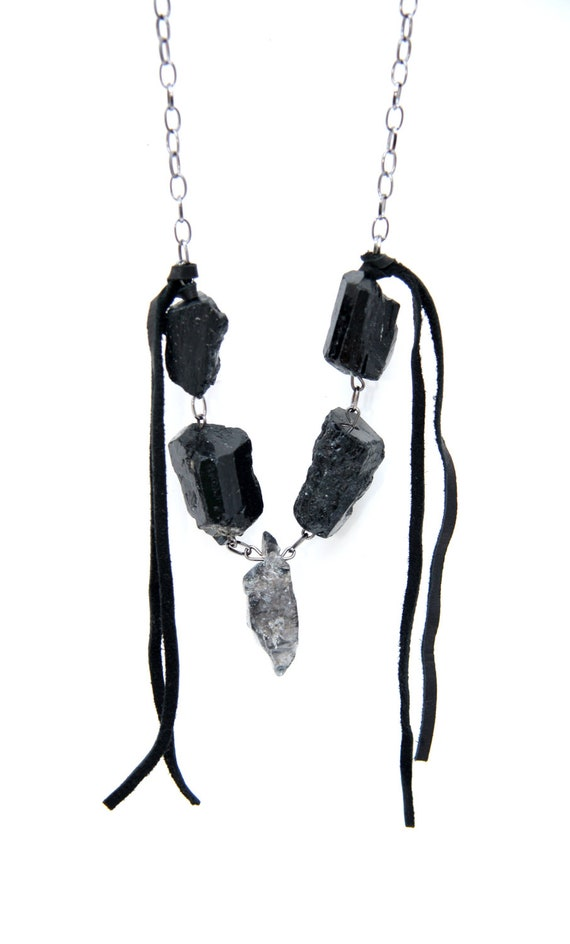 Black Tourmaline Energetic Protection Necklace - Tourmalinated Quartz Metaphysical Spirit Necklace - Luck and Protection