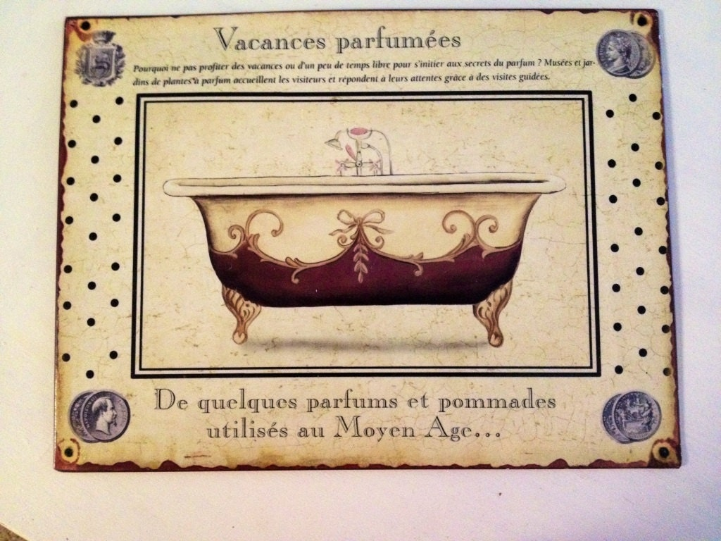 Vintage Tin Bathroom Sign By ElizabethLaneBoutiqu On Etsy