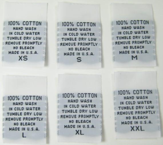 100 Pcs White Woven Clothing Labels Care Label 100 Cotton