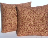 SALE Pillow Covers Red and Metallic Gold Scroll Cushion Covers Throw Pillow