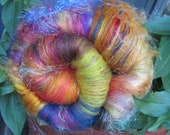 GYPSY BONFIRE 4.0 oz, fiber art batt for spinning, carded batt, bling batt, Angelina sparkle, felting fiber, fiber art , textured wool batt,