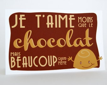 French lover - I love you card - Je t'aime - 3.5 x 5.5 inch - Milk chocolate - blank card - brown - beige - funny character - white envelope