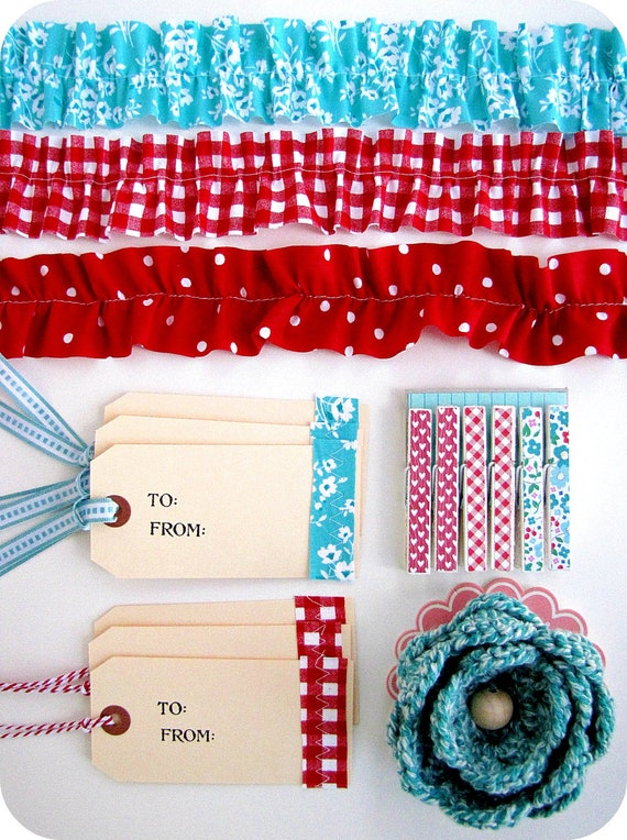 Gift wrapping kit - Packaging kit - aqua/red