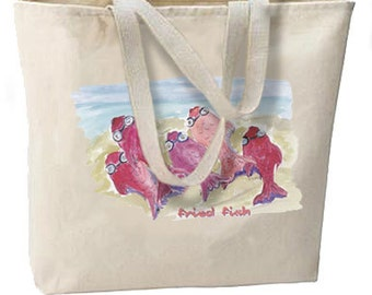 Beachy Fried Fish New Oversize Tote Bag, Overnight, Getaways