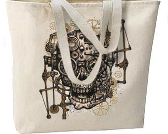 Steampunk Gothic Skull Gears New Oversize Tote Bag,  Unique.