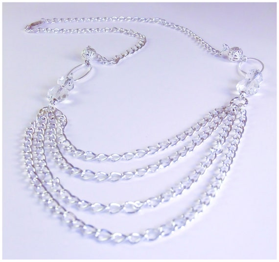 silver swag necklace, stacked necklace, multi layered strand, long silver chain necklace.