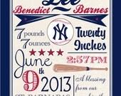 Nursery Art, Baby Boy Announcement, BASEBALL NURSERY PRINT- 8 x 10, Yankees Nursery Art