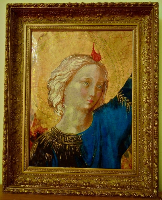 RESERVED for Maria 2nd & final payment Master Fra Angelico Print Hand Painted in GildedFrame Stunning