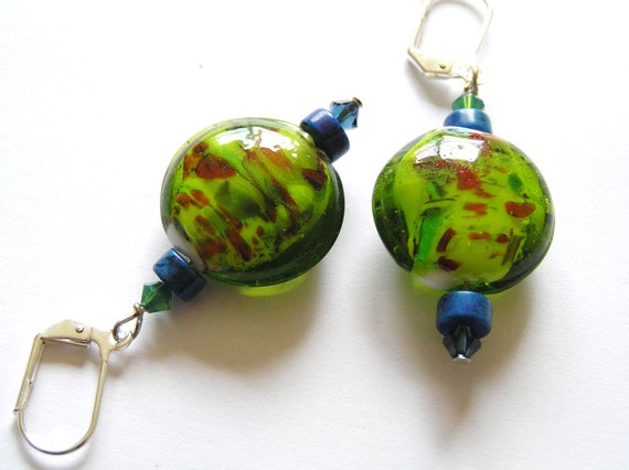 Green Apple and Red Orange Lampwork Glass Earrings with Swarovski Crystals & Dyed Turquoise