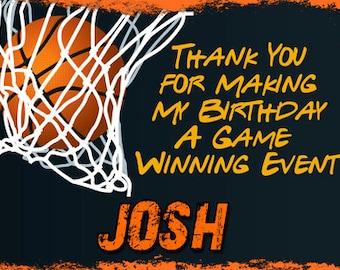 Basketball Thank You Cards DIY - Basketball Thank You Printable DIY - Personalized Basketball Thank You Cards