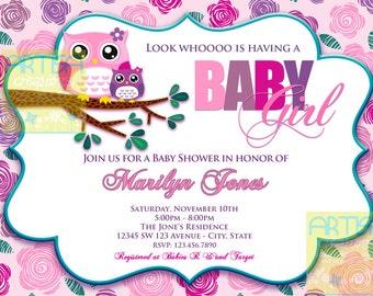 Pink Owl Baby Shower Invitation - Owl Baby Girl Shower Invitation - Pink and Purple Owls Baby Shower Invitation