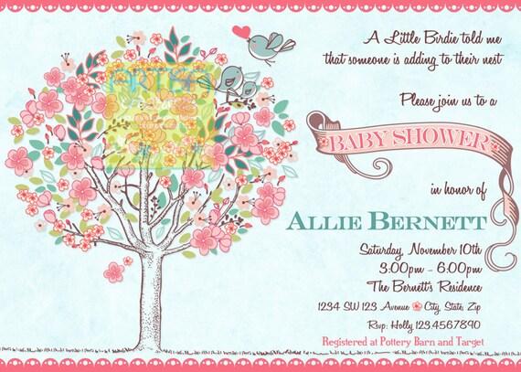 Tree Birds Baby Shower Invitation Bloom Birds and Tree Baby