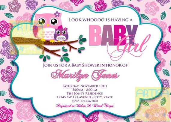 Pink owl baby shower invitation owl baby girl shower like this item filmwisefo Images