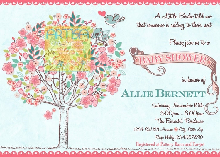 Baby shower invitation with bird diabetesmangfo tree birds baby shower invitation bloom birds and tree baby baby shower invitation filmwisefo Image collections