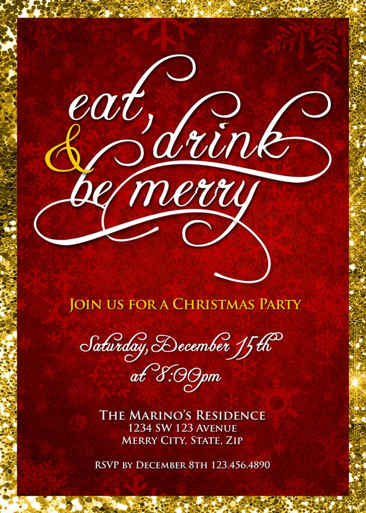 Christmas Party Invitation Eat Drink & Be Merry Christmas