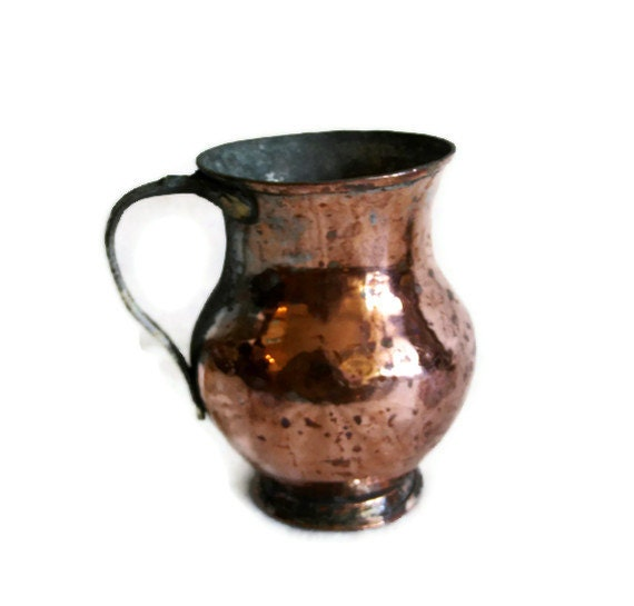 Vintage Hammered Copper Coffee Mug Rugged Hand By
